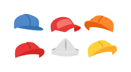 Builders hats construction helmet from different views. Protection industrial builders hats construction headwear builders business tool. Vector industrial safety builders hats manufacturing wear. Illustration