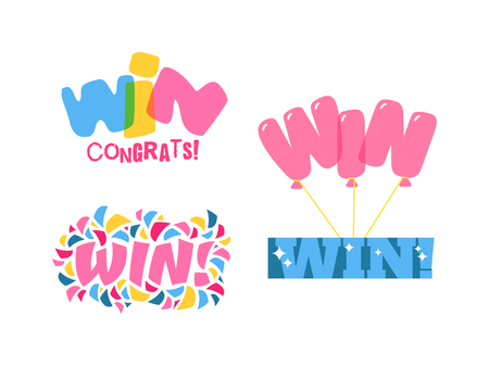 gamble: Win sign with colour confetti vector paper illustration. Success luck message contest promotion win text. Banner competition award lucky lottery word win text. Shop or web site reward gamble champion Illustration