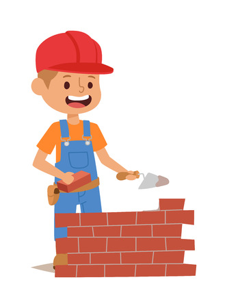 fun at work: Builders kids bricks wall builder with tools. Vector character builder kid, cute child construction. Little person work equipment. Fun young profession. Illustration