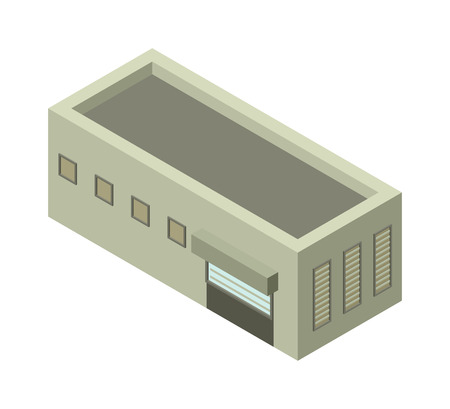 exterior element: Isometric factory building vector icon. Industrial building infographic element isometric industrial factory, Some warehouse industrial symbol. Architecture house exterior cityscape