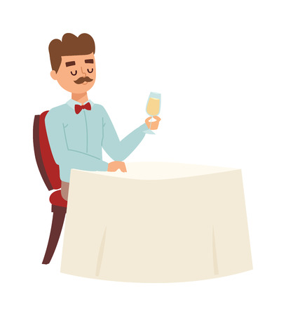 hombre solo: hombre solitario sentado a la mesa en el restaurante emocional, que siente la calidad. adulto lindo hombre solitario de beber vino. la depresión adulta problema hombre solo, deprimido vector de caracteres infeliz.
