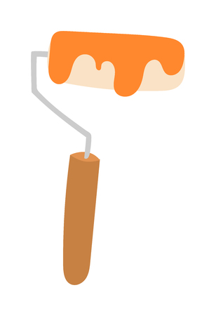 Paint roller icon flat vector illustration. Some roller icon vector isolated on white background. Paint flat style roller icon work tool. Illustration
