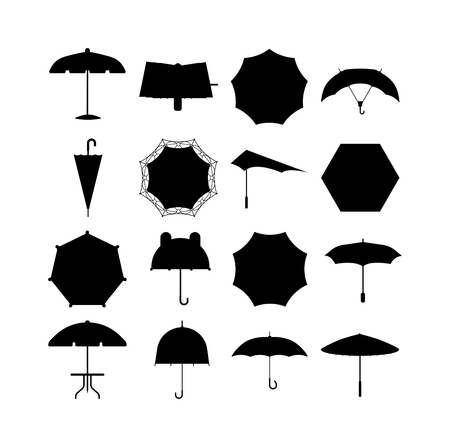 comfort: Set of cute black umbrellas in flat design style. Autumn accessory concept fashion umbrella. Colorful flat collection comfort umbrella outdoor element, climate protective sign.