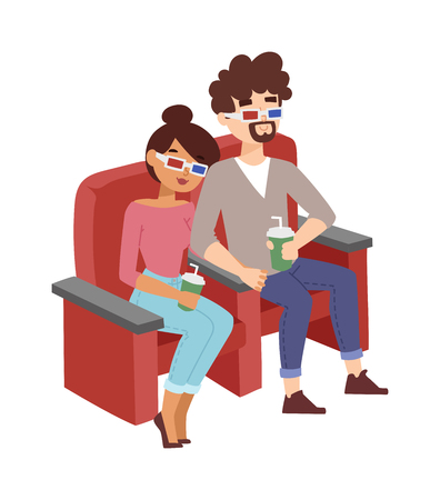 friends eating: Happy couple sitting in movie theater, watching 3D movie, eating popcorn, smiling vector. Happy entertaining person, friends cinema people lifestyle auditorium. Cinema people watching film. Illustration