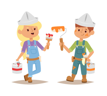 fun at work: Builders kids boy and girl painting builder with tools. Vector character builder kid, cute child construction. Little person work equipment. Fun young profession. Illustration