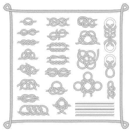 lashing: Navy blue rope with marine knots white pattern vector. Sea boat knots shipping natural tackle sign vessel rope. Yacht white navy cable sea boat knots lashing bend net string design. Illustration