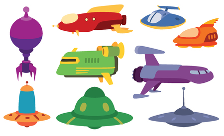 Big collection of UFO crafts and space stations silhouette vector. Unidentified antenna planet travel universe UFO spaceship. Flying technology science UFO spaceship mystery rocket, cartoon design.