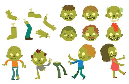 다채로운 좀비 무서운 만화 캐릭터와 마술 사람들이 몸 만화 재미. 귀여운 녹색 만화 좀비 캐릭터 신체 괴물 벡터 일러스트 레이 션의 부분. 공포 좀비