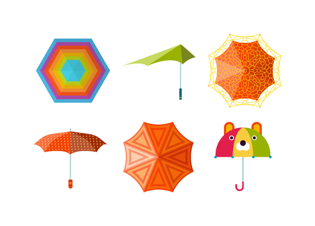 comfort: Set of cute multi colored umbrellas in flat design style. Autumn accessory concept fashion umbrella. Colorful flat collection comfort umbrella outdoor element, climate protective sign.