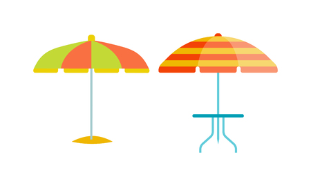 beach closed: Set of cute multi colored umbrellas in flat design style. Autumn accessory concept fashion umbrella. Colorful flat collection comfort umbrella outdoor element, climate protective sign.