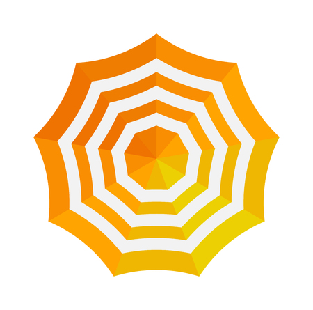 Cute multi colored umbrella top view in flat design style. Autumn accessory concept fashion umbrella. Colorful flat comfort umbrella outdoor element, climate protective sign.