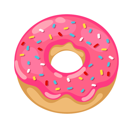 Cute sweet colorful donut. Chocolate or cream yummy cookie donuts food. Candy decoration color donut cake isolated fast food.
