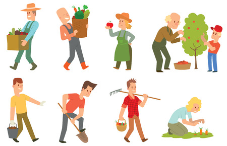 Picking fresh vegetable in garden people character set. Agriculture farm green garden harvest people organic outdoors agriculture team. Happy growth garden harvest working people.