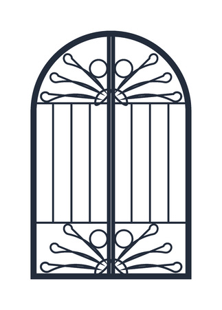 metall and glass: Vintage door isolated on white. Colorful front door to house and building in flat design style isolated. Vector illustration door isolated modern new decoration open elegant room lock Illustration