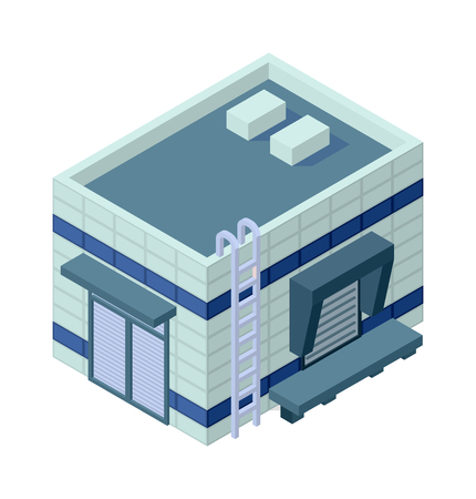industrial building: Isometric factory building vector icon. Industrial building infographic element isometric industrial factory, Some warehouse industrial symbol. Architecture house exterior cityscape