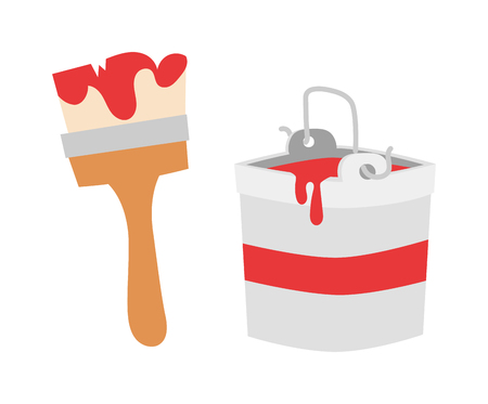 work tool: Paint brush icon flat vector illustration. Some brush icon vector isolated on white background. Paint flat style design or construction brush icon work tool.