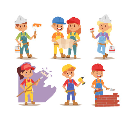 fun at work: Builders kids boys and girls builder with tools. Vector character builder kids, cute child construction. Little person work equipment. Fun young profession. Illustration