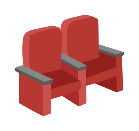show time: Cinema chairs movie tools in flat design background concept. Armchairs cinema. Icons cnema chairs product vector illustration, web movie entertainment and mobile applications auditorium show sign. Illustration