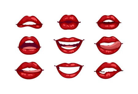 Female lips isolated on white sweet passion lust makeup mouth. Set woman lips romance cosmetic sensuality desire. Set of mouth smile woman red woman lips isolated shape romantic