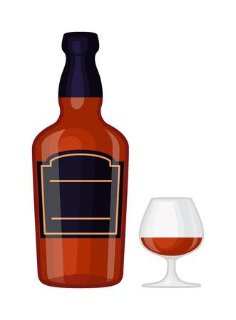 Full whiskey bottle ice aroma shot drink. Vector whiskey bottle and short glass brown drink. Brown whiskey bottle beverage liquor bar cognac amber, drunk ireland flavor. Taste screw scottish cocktail. Reklamní fotografie - 60454549