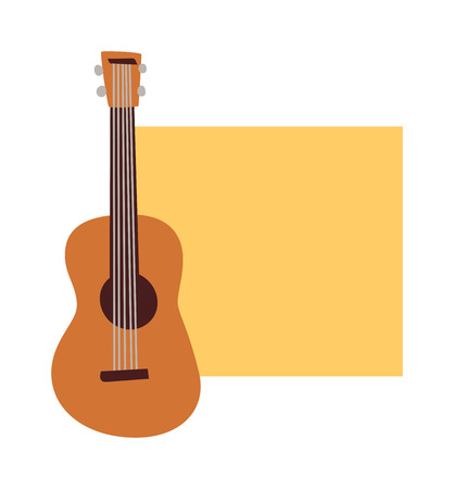 concert poster: Musician concert show poster with acoustic guitar vector illustration. Music concert poster advertising sound musician guitarist symbol. Music concert poster rock guitar event festival. Illustration