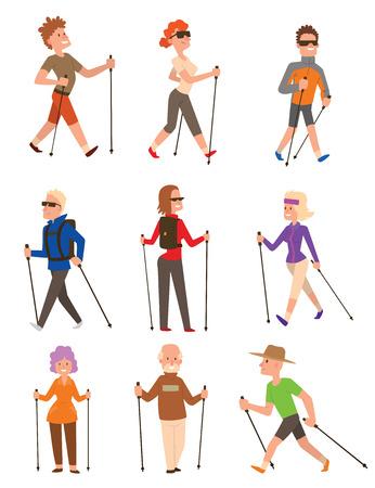 Grupo de senderistas nórdica carácter conjunto de vectores feliz a la gente de la diversión de ocio. deporte nordic walking estilo de vida saludable ejercicio de ocio. Senderismo formación de recreo deportivas nordic walking personas activas.