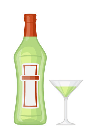 Alcohol martini bottle and glass martini restaurant liquid vector. Tropical scotch brewery martini bottle vine vermouth liquor. Party martini bottle design beverage. Alcohol lifestyle healthy drink. Illustration