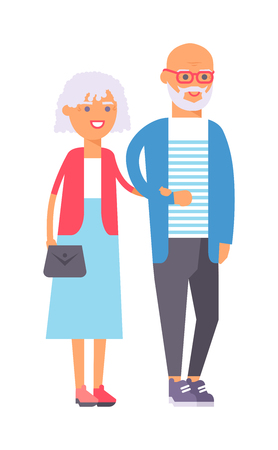 Old couple people vector. Happy old people couple happy family together. Happy ensioner couple family people on happy together character vector illustration.