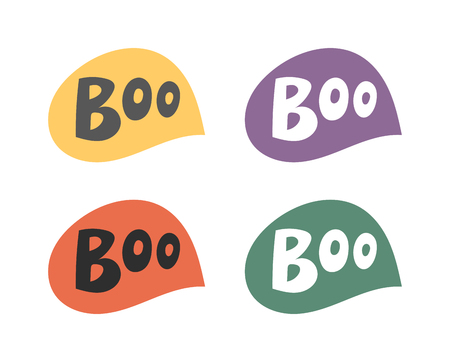 boo: Vector set of cartoon comics boo speech bubble phrases and effects. Boo speech bubble splash scary, comic, art. Boo speech bubble swoosh pop spooky fun vector element funny graphic.