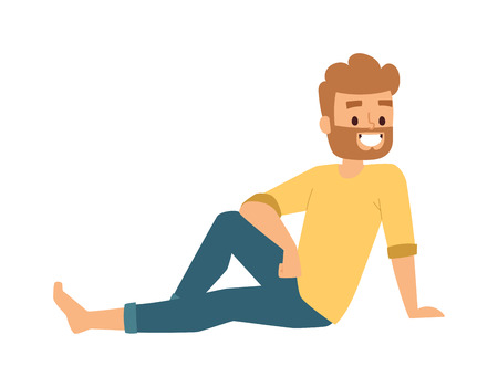 handsome young man: Handsome young man sitting cartoon character vector illustration. Fashion attractive cheerful modern looking man sitting. Sitting man young handsome happy person body relaxed, lifestyle concept. Illustration
