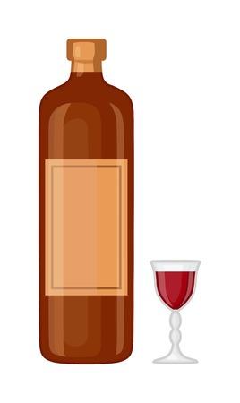 whisky bottle: Full whiskey bottle ice aroma shot drink. Vector whiskey bottle and short glass brown drink. Brown whiskey bottle beverage liquor bar cognac amber, drunk ireland flavor. Taste screw scottish cocktail.