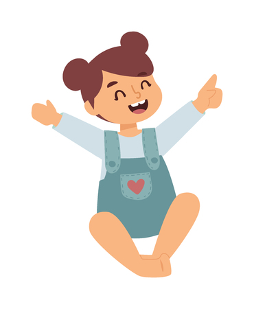 human kind: Little cute baby girl sitting in blue dress isolated. Sitting baby girl vector laughing kid character. Pretty sweet human smile childhood sitting baby girl. Happiness face and kind eyes. Illustration