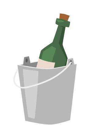 Champagne bottle in bucket with ice and glasses of champagne isolated on white. Alcohol champagne bucket bottle party cooler cold ice. Metal luxury gold vector champagne bucket romantic sign. Illustration