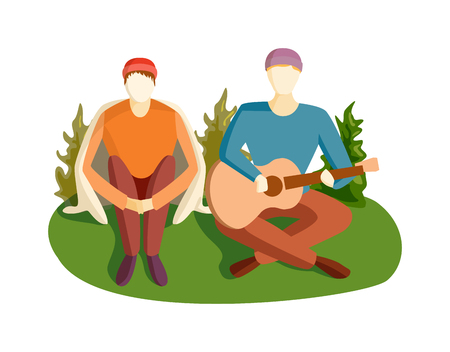 the song: Romantic young man playing an acoustic guitar song, sitting on green grass wooden floor. Young man playing guitar and sings song. Guitar song vector illustration camping man character.