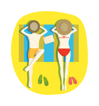 happy couple beach: Couple on tropical beach and couple on beach vector characters. Top view couple on beach and couple on beach towels romance lovers holiday travel lifestyle. Happy ocean couple together water.