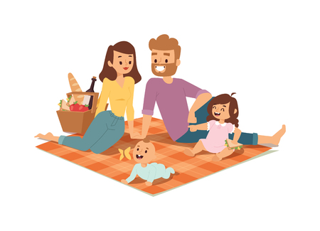 Family picnicking summer happy lifestyle park outdoors together, enjoying meadow vacation character vector. Family picnic vacation and summer family picnic. Happy family picnic resting outdoors.