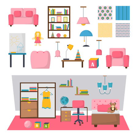 Colorful playroom baby kids room interior and vector set baby kids room interior elements. Baby kids room interior design furniture and cute bright colorful play baby kids room interior.