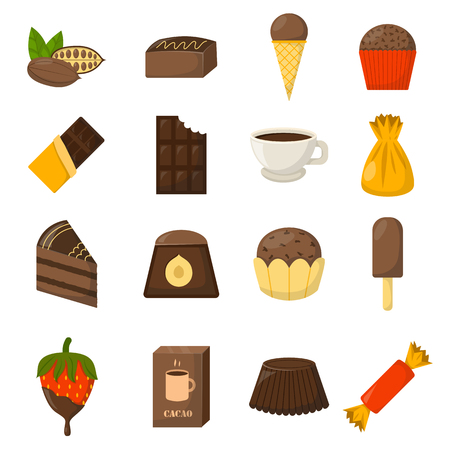 Chocolate candies symbols cakes muffin and chocolate symbols donut flat icons set isolated. Chocolate symbols vector illustration and chocolate food dessert sweet candy brown delicious.