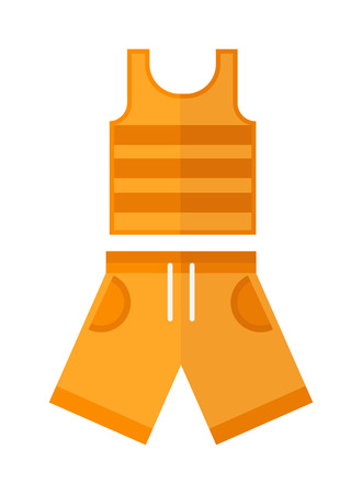 childrens wear: Shorts and shirt, boys wear, summer clothes isolated on the white background. Flat vector summer clothes childrens wear, summer clothes, Summer clothes and fabric summer clothes.