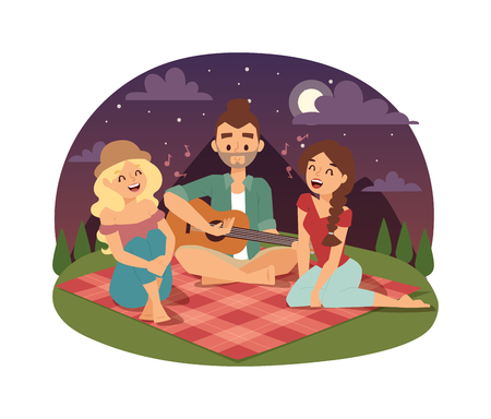 lifestyle outdoors: Friends picnicking summer happy lifestyle park outdoors together, enjoying meadow vacation character vector. Friends picnic vacation and summer family picnic. Happy Friends picnic resting outdoors. Illustration