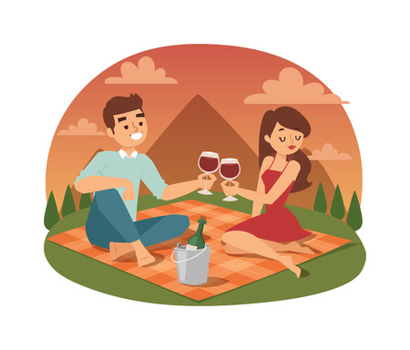 lifestyle outdoors: Young couple family picnicking summer happy lifestyle park outdoors together, enjoying vacation vector. Young couple family picnic vacation and summer family picnic. Happy couple picnic outdoors.