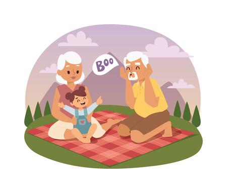 lifestyle outdoors: Old people family picnicking summer happy lifestyle park outdoors together, enjoying meadow vacation character vector. Family picnic vacation and summer family picnic. Happy family picnic outdoors.