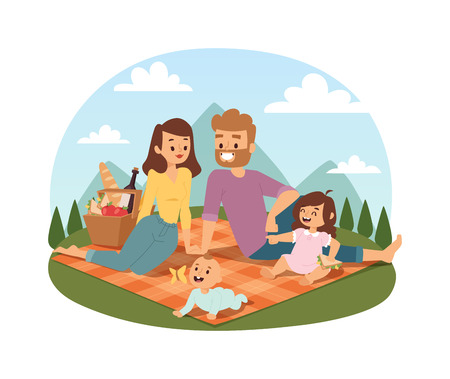 lifestyle outdoors: Family picnicking summer happy lifestyle park outdoors together, enjoying meadow vacation character vector. Family picnic vacation and summer family picnic. Happy family picnic resting outdoors.
