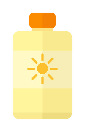 suntan: Bottle suntan cream isolated on white background and sunscreen cream vector icon. Sunblock cosmetic summer container sunscreen cream and orange tube packaging design sunscreen cream. Illustration