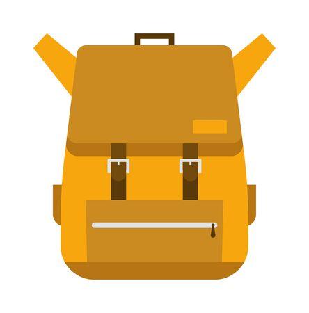 mochila viaje: Vector flat modern hiking travel backpack stylish camping and mountain exploring bag. Travel mountain exploring backpack and travel backpack tourist bag. Travel mountain backpack. Vectores