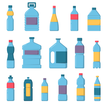 mineral water bottles: Vector plastic water bottles set. Water bottles plastic, blue drink container and transparent, health, mineral, beverage water bottles set. Refreshment full clear water bottles collection.