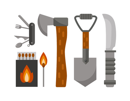 survival knife: Colorful camping set icons. Vector camping tools design illustrations, camping tools infographic elements. Flat style camping tools and Camping tools travel knife, adventure camp survival leisure.