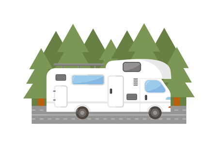 Mobile Home Park Travel Camping Trailer Car House Isolated Nature Holiday Concept