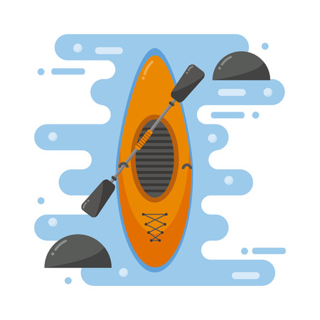 rushing water: Top view of crossover kayaking boat whitewater and river running kayaking boat isolated. Vector kayaking boat river landscape, orange boat, rowing river. Transportation health sport. Illustration