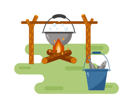 soup pot: Isolated bonfire with camping pot on white and pot on bonfire camping fresh warm food. Vector pot on bonfire picnic travel and pot on bonfire soup camp food. Cook heat water soup in kettle. Illustration